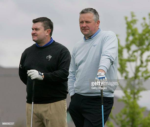 Raymond Burns and Robert Giles during the PGA Glenmuir Club Professional Irish Region Qualifier at The Heritage Golf Club on May 4 2010 in Laois...