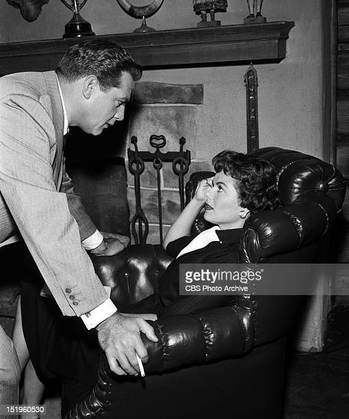 Raymond Burr as Perry Mason and Barbara Hale as Della Street in 'The Case of the Buried Clock' Image dated September 9 1958