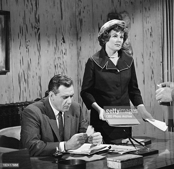 MASON Raymond Burr as Perry Mason and Barbara Hale as Della Street in The Case of the Melancholy Marksman Image dated February 21 1962