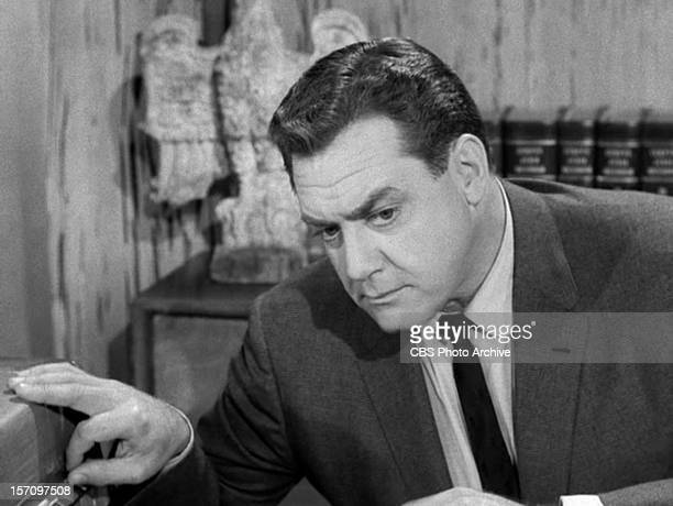 Raymond Burr as Perry Mason in the PERRY MASON episode The Case of the Envious Editor Original air date January 7 1961 Season 4 episode 13 Image is a...