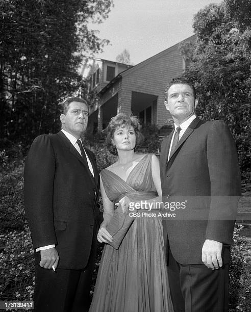 Raymond Burr as Perry Mason Patricia Barry as Eva Belter and James Philbrook as Harrison Burke in the PERRY MASON episode 'The Case of the Velvet...