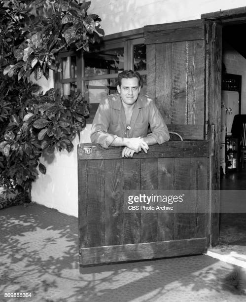 Raymond Burr lead actor in the CBS television series Perry Mason Seen here Burr at home August 1 1957 Los Angeles CA