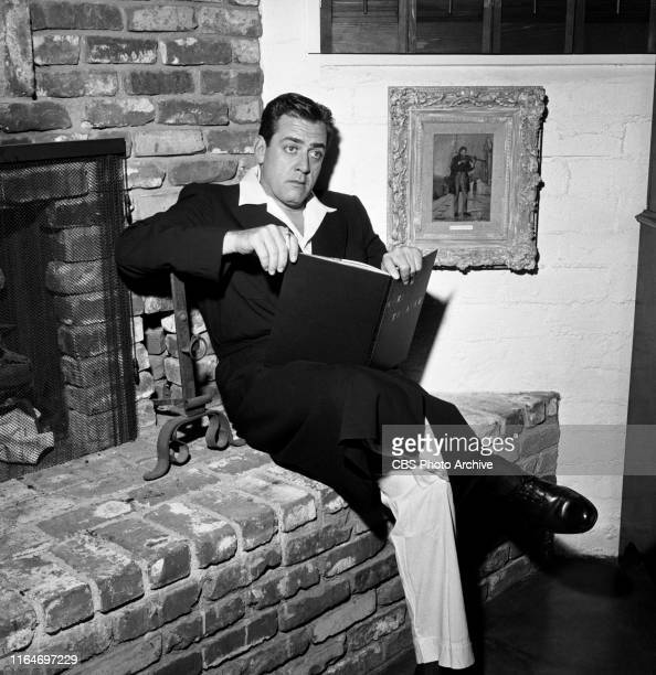 Raymond Burr relaxes on his property at home where he lives as a bachelor He stars in the CBS television legal drama series Perry Mason The home is...