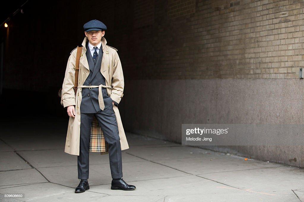 b25ac1d6cc7 Street Style - Day 4 - New York Fashion Week  Men s Fall Winter 2016.  Raymond Chu wears a newsboy cap