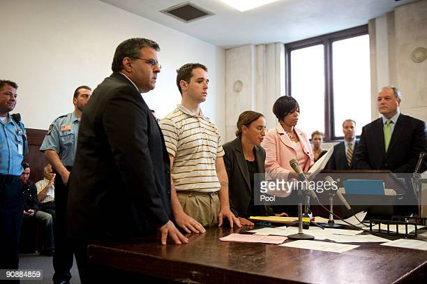 Raymond Clark III stands next to Assistant Public Defender Joseph E Lopez and Senior Assistant Public Defender Beth Merkin as Bail Commissioner...