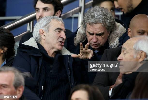 Raymond Domenech and Dominique Rocheteau attend the French League Cup quarter final between Paris SaintGermain and AS SaintEtienne at Parc des...
