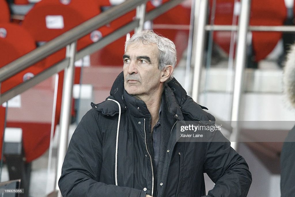 Raymond Domenech attends the French Ligue 1 match between Paris Saint-Germain FC and Ajaccio AC at Parc des Princes on January 11, 2013 in Paris, France.