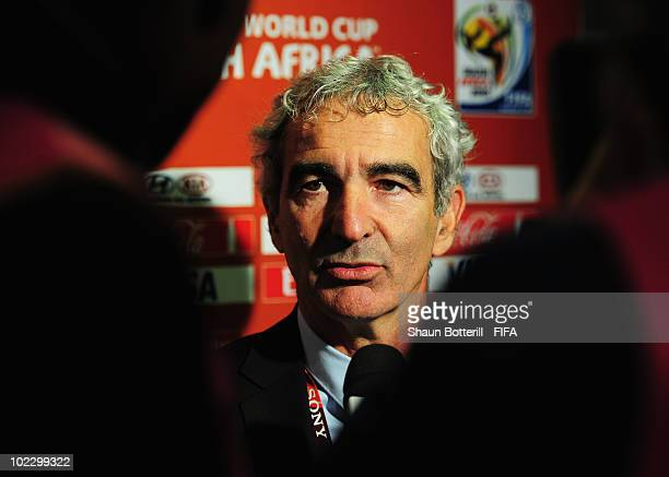 Raymond Domenech head coach of France is interviewed after the 2010 FIFA World Cup South Africa Group A match between France and South Africa at the...