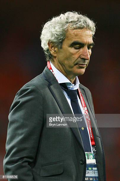 Raymond Domenech, head coach of France looks dejected after loosing the UEFA EURO 2008 Group C match between Netherlands and France at Stade de...