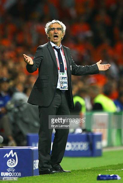 Raymond Domenech, head coach of France reacts during the UEFA EURO 2008 Group C match between Netherlands and France at Stade de Suisse Wankdorf on...