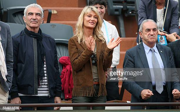 Raymond Domenech Isabelle Camus and President of French Tennis Federation Jean Gachassin attend day 5 of the 2016 French Open held at RolandGarros...