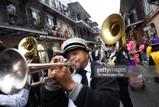 Raymond Dr Rackle Williams of the Treme Brass Band plays during the Krew of Cork parade on Friday February 17 2017 in New Orleans LA The parade which...