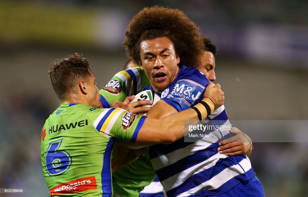 Raymond Faitala of the Bulldogs is tackled during the round five NRL match between the Canberra Raiders and the Canterbury Bulldogs at GIO Stadium on April 5, 2018 in Canberra, Australia.