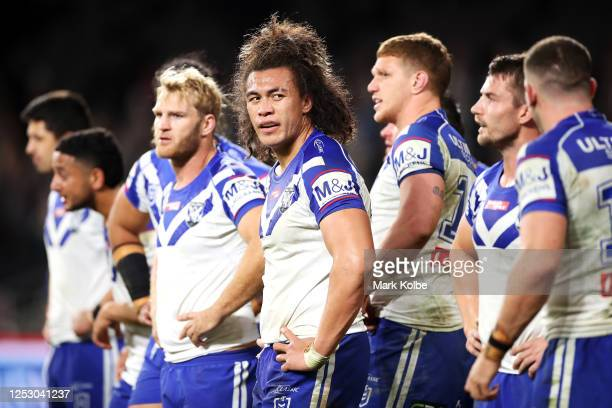 Raymond FaitalaMariner of the Bulldogs looks dejected after a Tigers try during the round seven NRL match between the Canterbury Bulldogs and the...