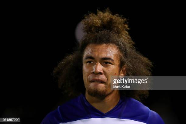 Raymond Faitala-Mariner of the Bulldogs looks dejected as he leaves the field during the NRL round eight match between the Penrith Panthers and...