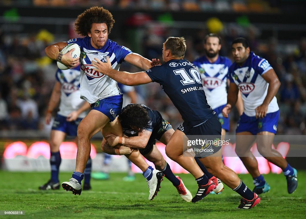 Raymond Faitala-Mariner of the Bulldogs makes a break during the round six NRL match between the North Queensland Cowboys and the Canterbury Bulldogs at 1300SMILES Stadium on April 14, 2018 in Townsville, Australia.