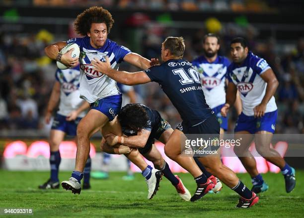 Raymond FaitalaMariner of the Bulldogs makes a break during the round six NRL match between the North Queensland Cowboys and the Canterbury Bulldogs...