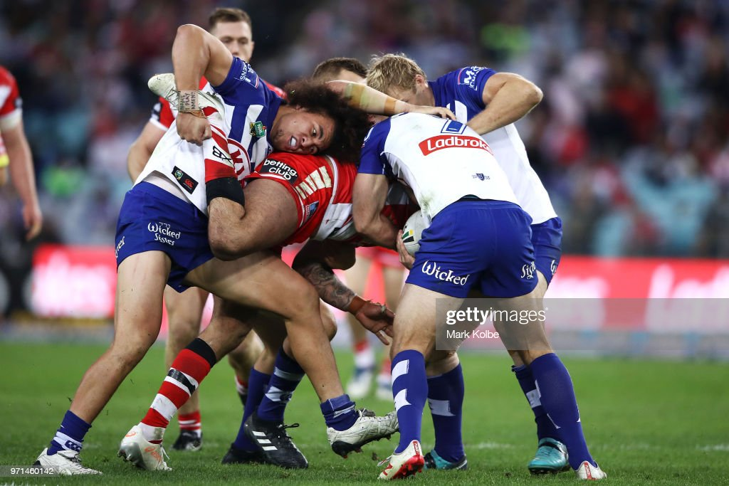 Raymond Faitala-Mariner of the Bulldogs makes a tackle during the round 14 NRL match between the Canterbury Bulldogs and the St George Illawarra Dragons at ANZ Stadium on June 11, 2018 in Sydney, Australia.