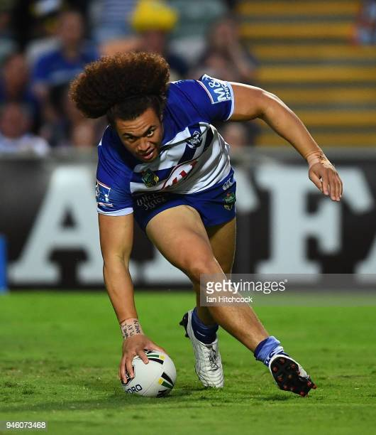 Raymond FaitalaMariner of the Bulldogs scores a try during the round six NRL match between the North Queensland Cowboys and the Canterbury Bulldogs...