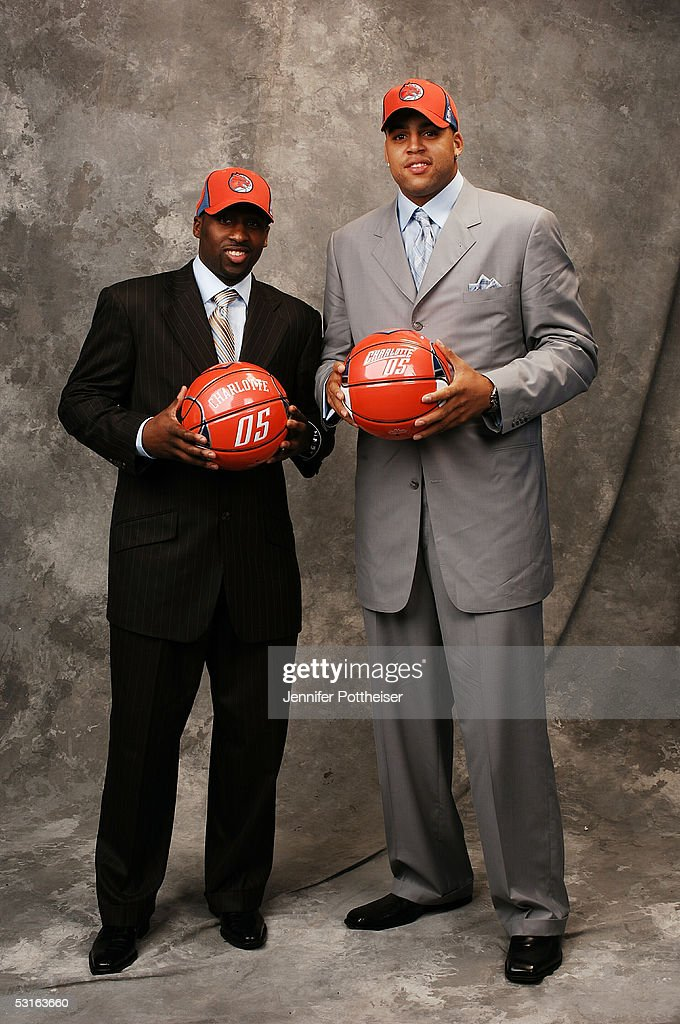 Raymond Felton and Sean May selected by the Charlotte Bobcats pose for a portrait during the 2005 NBA Draft on June 28, 2005 at the Theater at Madison Square Garden in New York City.