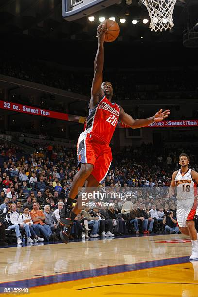 Raymond Felton of the Charlotte Bobcats attacks the basket for a layup against the Golden State Warriors on February 27 2009 at Oracle Arena in...
