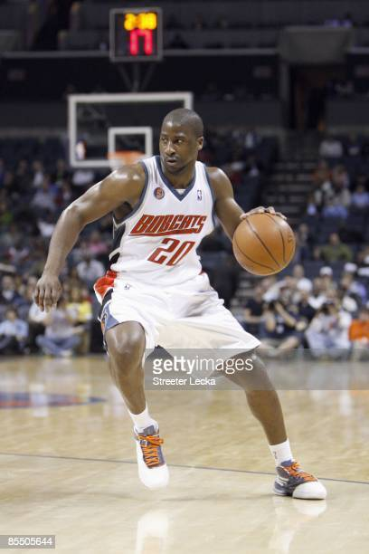 Raymond Felton of the Charlotte Bobcats drives the ball against the Toronto Raptors during their game at Time Warner Cable Arena on March 16 2009 in...