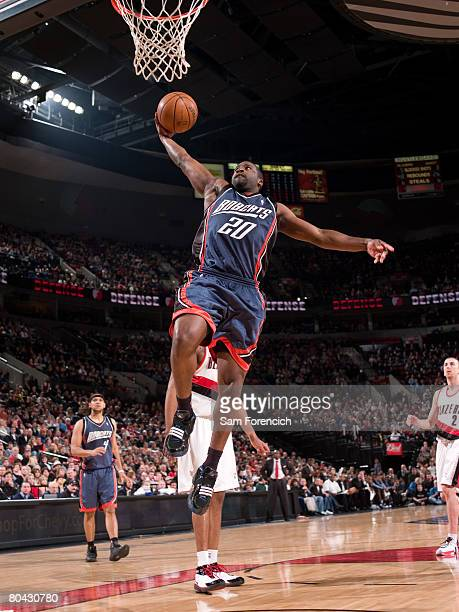 Raymond Felton of the Charlotte Bobcats goes up for a shot during a game against the Portland Trail Blazers on March 29 2008 at the Rose Garden Arena...