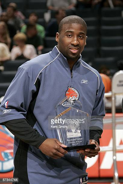 Raymond Felton of the Charlotte Bobcats is awarded the Rookie of the Month award for the second month in a row before the game against the Indiana...