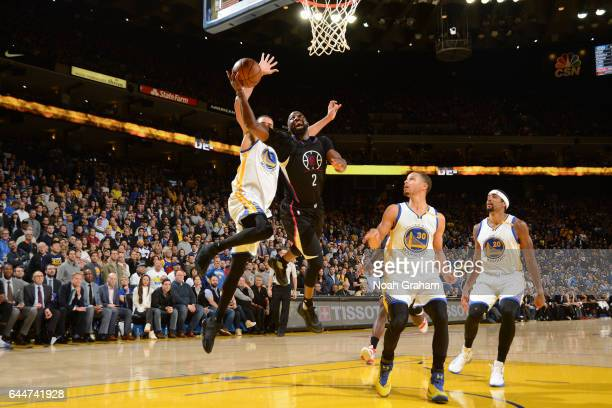 Raymond Felton of the LA Clippers goes up for a lay up against the Golden State Warriors on February 23 2017 at ORACLE Arena in Oakland California...