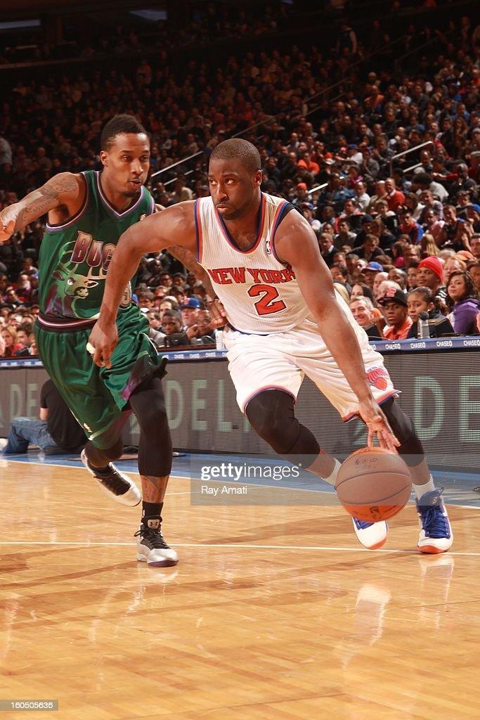 Raymond Felton #2 of the New York Knicks drives to the basket against Brandon Jennings #3 of the Milwaukee Bucks on February 1, 2013 at Madison Square Garden in New York City .