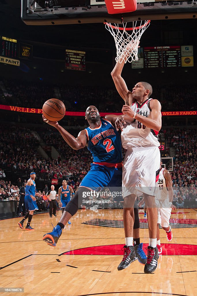 Raymond Felton #2 of the New York Knicks drives to the basket against the Portland Trail Blazer on March 14, 2013 at the Rose Garden Arena in Portland, Oregon.