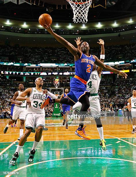 Raymond Felton of the New York Knicks drives to the basket against the Boston Celtics during Game Three of the Eastern Conference Quarterfinals of...