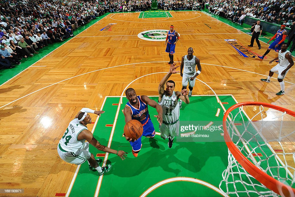 Raymond Felton #2 of the New York Knicks goes to the basket against Paul Pierce #34 and Courtney Lee #11 of the Boston Celtics in Game Six of the Eastern Conference Quarterfinals during the NBA Playoffs on May 3, 2013 at the TD Garden in Boston, Massachusetts.
