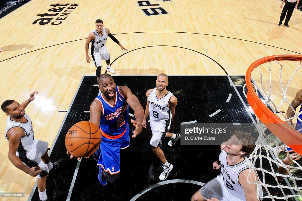 Raymond Felton #2 of the New York Knicks goes to the basket against the San Antonio Spurs on November 15, 2012 at the AT&T Center in San Antonio, Texas.