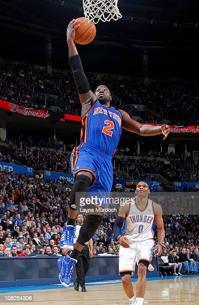 Raymond Felton of the New York Knicks goes up for a shot against the Oklahoma City Thunder on January 22 2011 at the Ford Center in Oklahoma City...