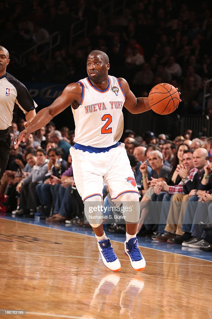 Raymond Felton #2 of the New York Knicks handles the ball against the Oklahoma City Thunder on March 7, 2013 at Madison Square Garden in New York City.