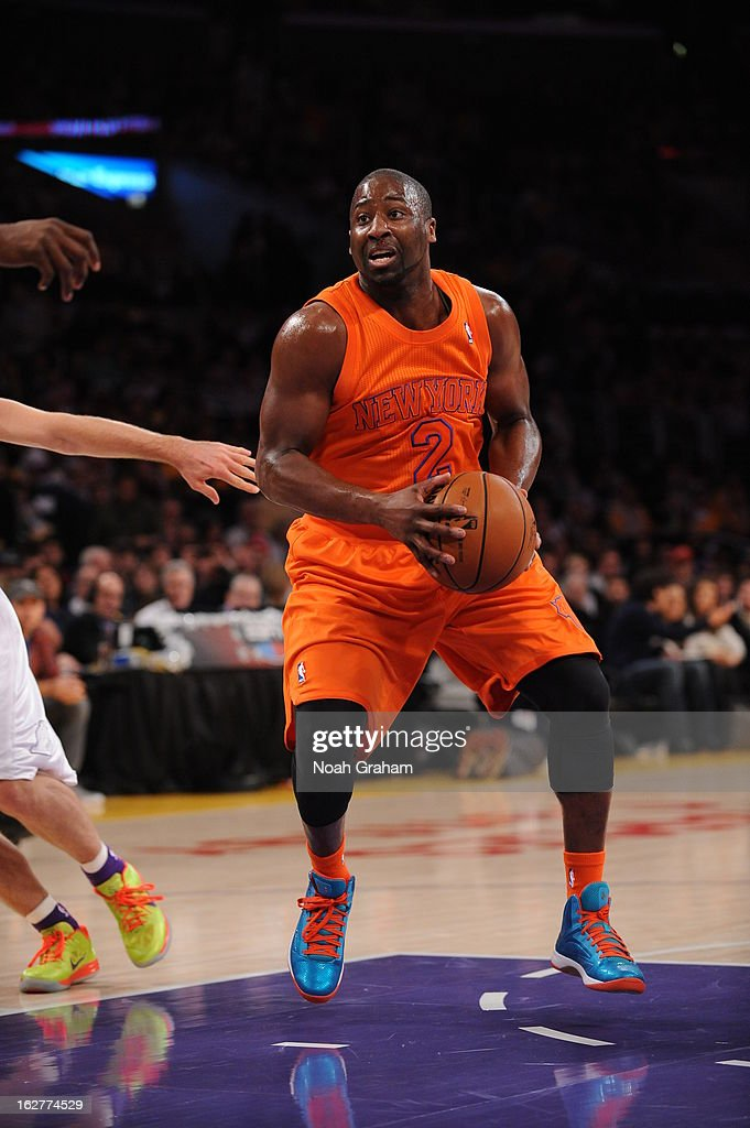 Raymond Felton #2 of the New York Knicks looks to drive to the basket against the Los Angeles Lakers at Staples Center on December 25, 2012 in Los Angeles, California.