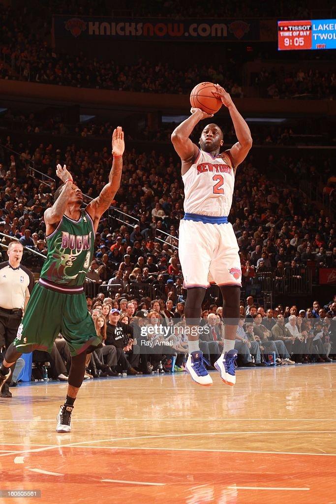 Raymond Felton #2 of the New York Knicks shoots against Brandon Jennings #3 of the Milwaukee Bucks on February 1, 2013 at Madison Square Garden in New York City .