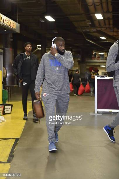 Raymond Felton of the Oklahoma City Thunder arrives to the arena prior to the game against the Cleveland Cavaliers on November 7 2018 at Quicken...