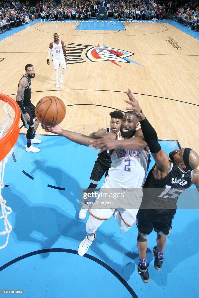 Raymond Felton #2 of the Oklahoma City Thunder goes to the basket against the Sacramento Kings on March 12, 2018 at Chesapeake Energy Arena in Oklahoma City, Oklahoma.