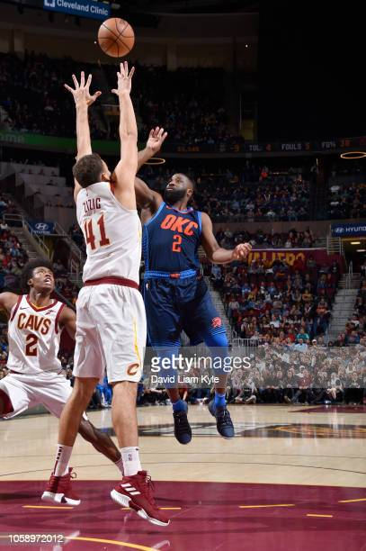 Raymond Felton of the Oklahoma City Thunder shoots the ball against the Cleveland Cavaliers on November 7 2018 at Quicken Loans Arena in Cleveland...