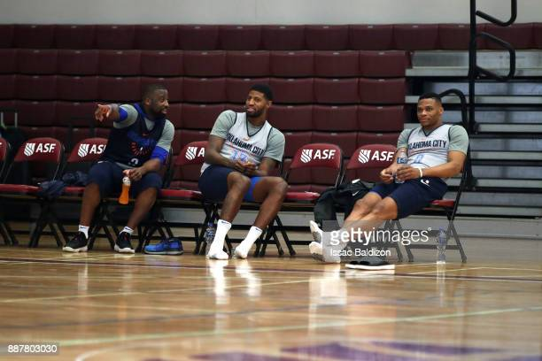 Raymond Felton Paul George and Russell Westbrook of the Oklahoma City Thunder during shoot around as part of the NBA Mexico Games 2017 on December 7...