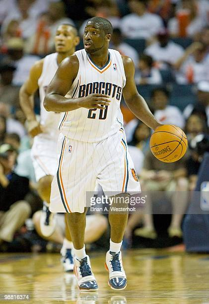 Raymond Felton runs the offense for the Charlotte Bobcats against the Orlando Magic at Time Warner Cable Arena on April 26 2010 in Charlotte North...
