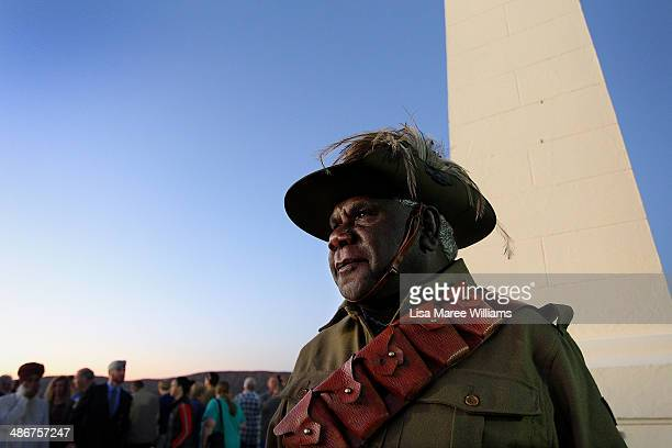 Raymond Finn attends the Anzac Hill Dawn Service representing the 12th Light Horse Brigade on April 25 2014 in Alice Springs Australia Raymond will...