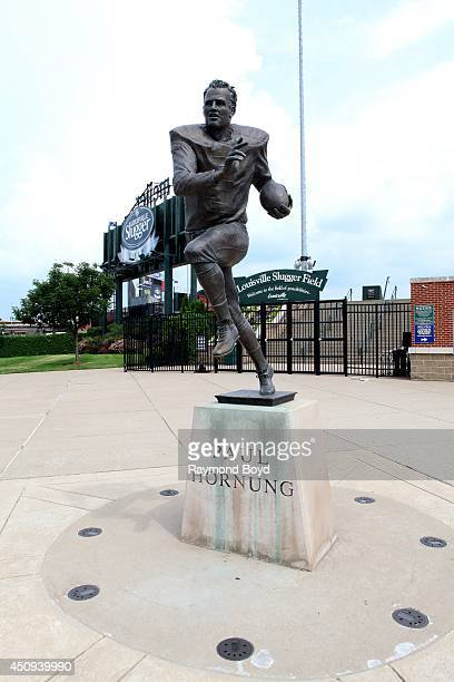 Raymond Graf's Paul Hornung statue sits outside Louisville Slugger Field home of the Louisville Bats baseball team on May 30 2014 in Louisville...