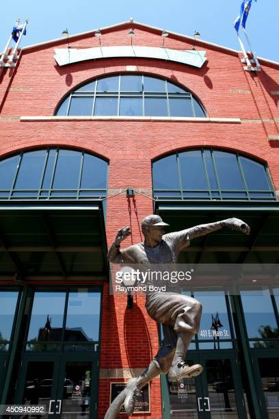 Raymond Graf's Pee Wee Reese statue sits outside Louisville Slugger Field home of the Louisville Bats baseball team on May 31 2014 in Louisville...