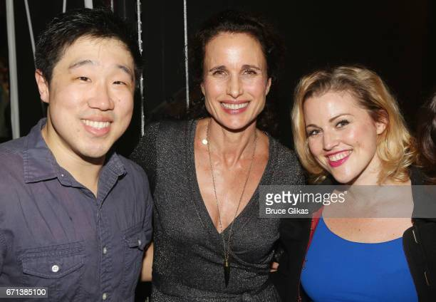 Raymond J Lee Andie MacDowell and Rebecca Faulkenberry pose backstage at the hit musical based on the film Groundhog Day on Broadway at The August...