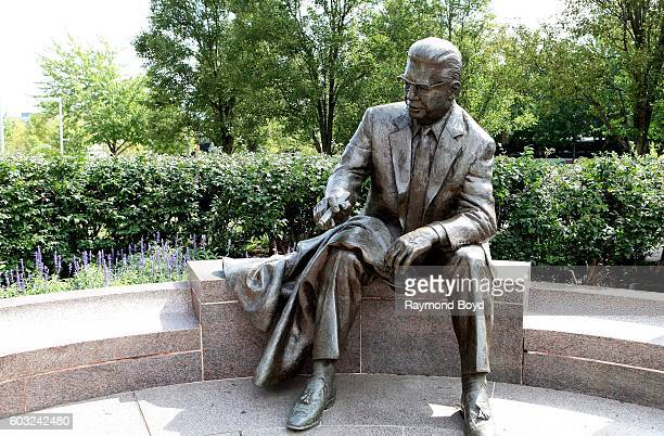 Raymond Kaskey's Art Rooney sculpture sits outside Heinz Field home of the Pittsburgh Steelers and Pittsburgh Panthers football teams in Pittsburgh...