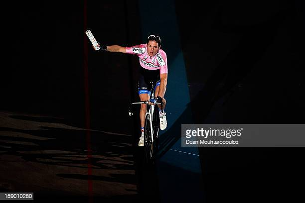 Raymond Kreder of Netherlands celebrate his win during the Rotterdam 6 Day Cycling at Ahoy Rotterdam on January 5 2013 in Rotterdam Netherlands
