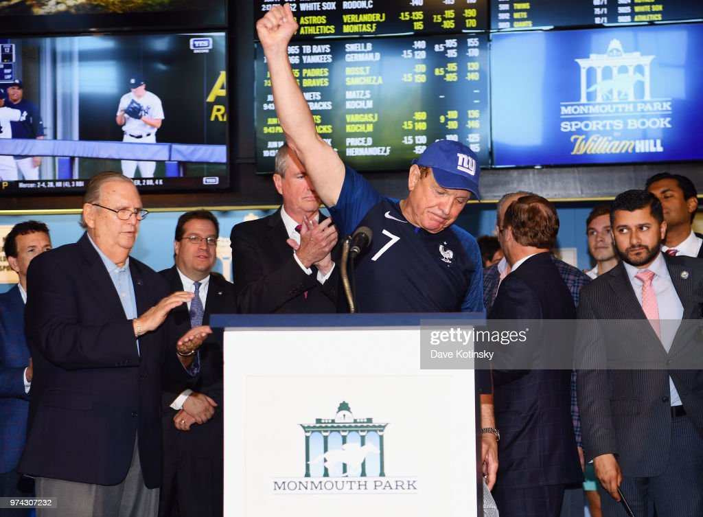 Raymond Lesniak speaks during the William Hill Sports Book at Monmouth Park as it opens and welcomes public to place first legal sports bets on June 14, 2018 in Oceanport, New Jersey.